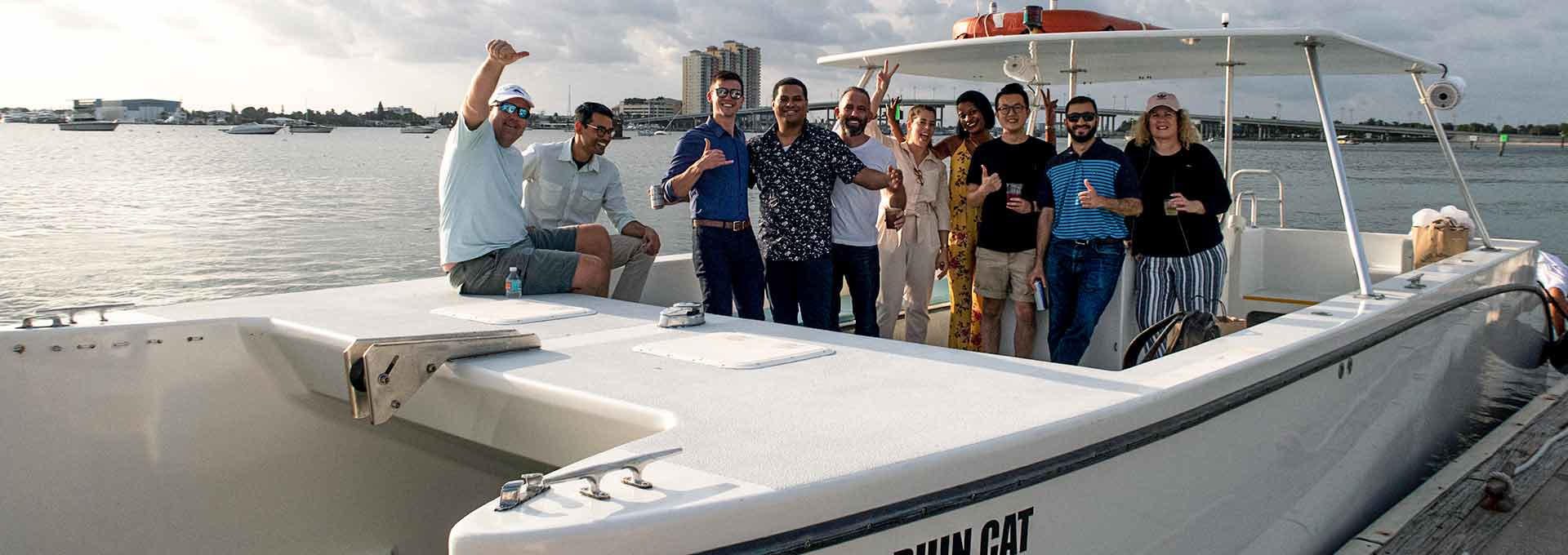 Dolphin Cat catamaran with happy people