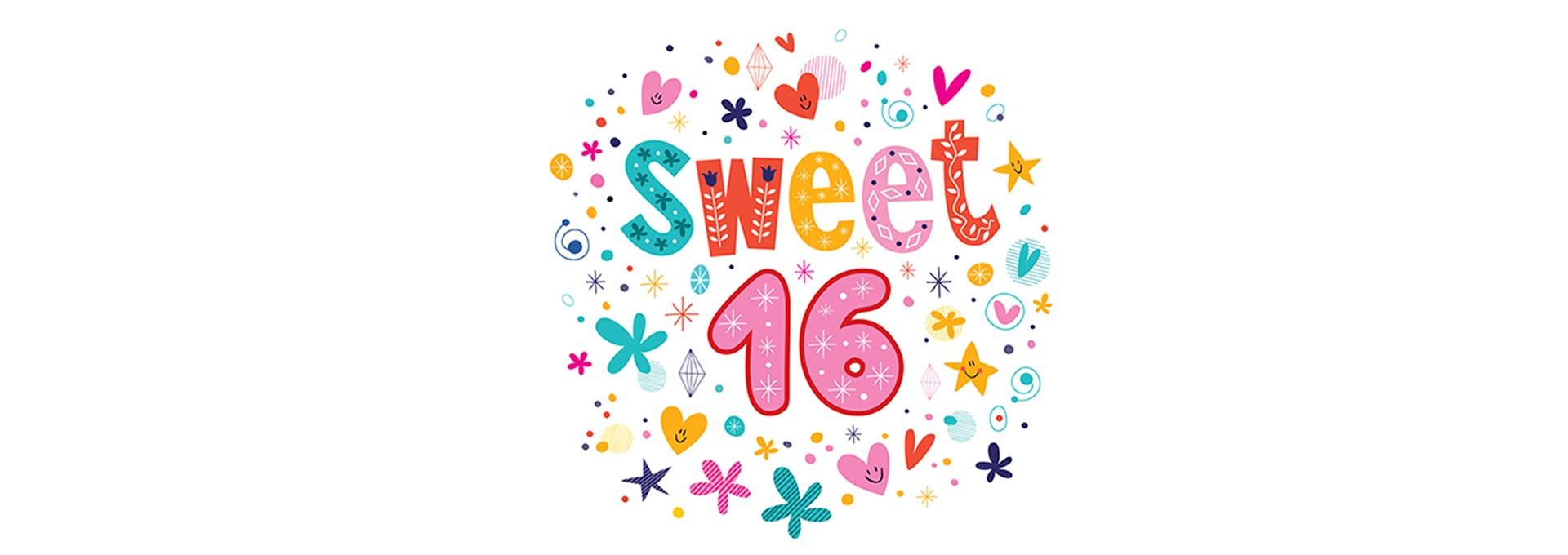 Sweet 16 colorful logo