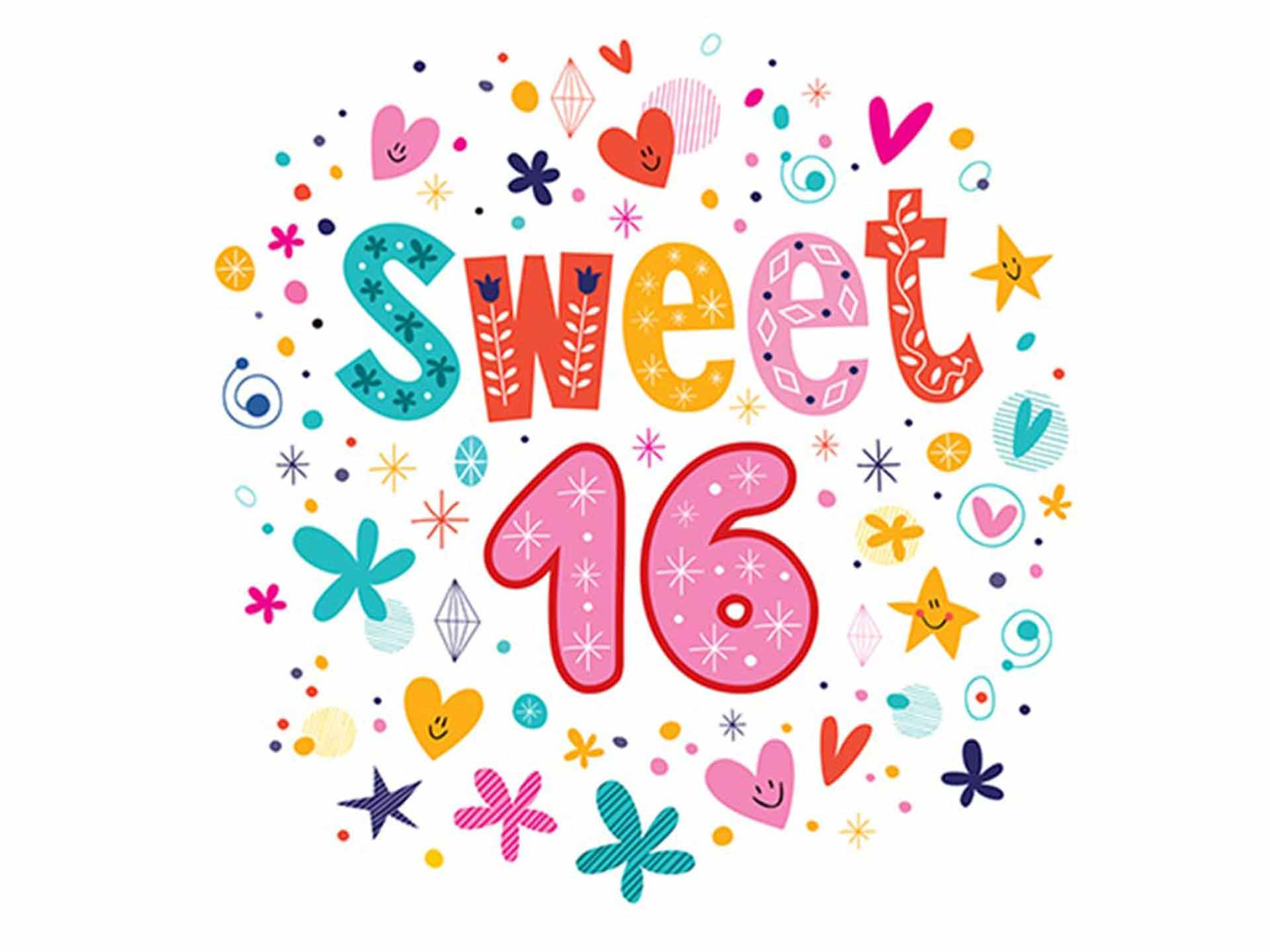 Sweet 16 colorful logo