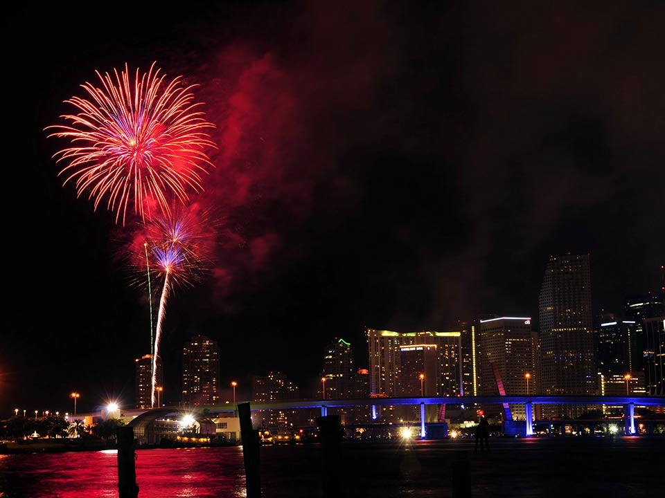 Fireworks over Palm Beach Florida area